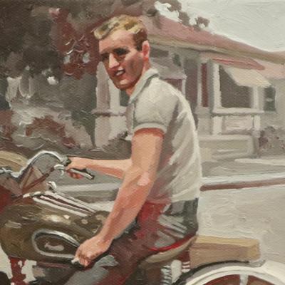 Jeune homme à la moto